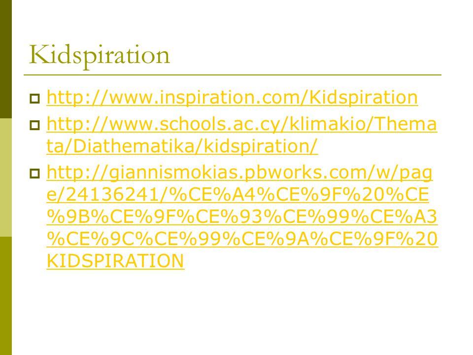 Kidspiration  http://www.inspiration.com/Kidspiration http://www.inspiration.com/Kidspiration  http://www.schools.ac.cy/klimakio/Thema ta/Diathematika/kidspiration/ http://www.schools.ac.cy/klimakio/Thema ta/Diathematika/kidspiration/  http://giannismokias.pbworks.com/w/pag e/24136241/%CE%A4%CE%9F%20%CE %9B%CE%9F%CE%93%CE%99%CE%A3 %CE%9C%CE%99%CE%9A%CE%9F%20 KIDSPIRATION http://giannismokias.pbworks.com/w/pag e/24136241/%CE%A4%CE%9F%20%CE %9B%CE%9F%CE%93%CE%99%CE%A3 %CE%9C%CE%99%CE%9A%CE%9F%20 KIDSPIRATION