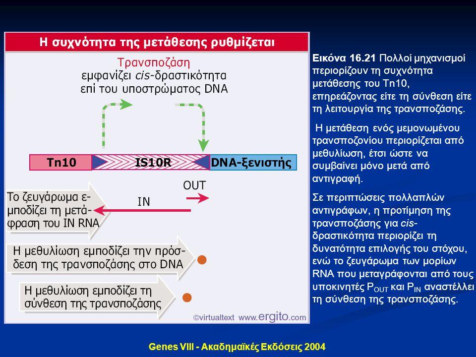 Genes VIII - Ακαδημαϊκές Εκδόσεις 2004 Εικόνα 16.21 Πολλοί μηχανισμοί περιορίζουν τη συχνότητα μετάθεσης του Tn10, επηρεάζοντας είτε τη σύνθεση είτε τ