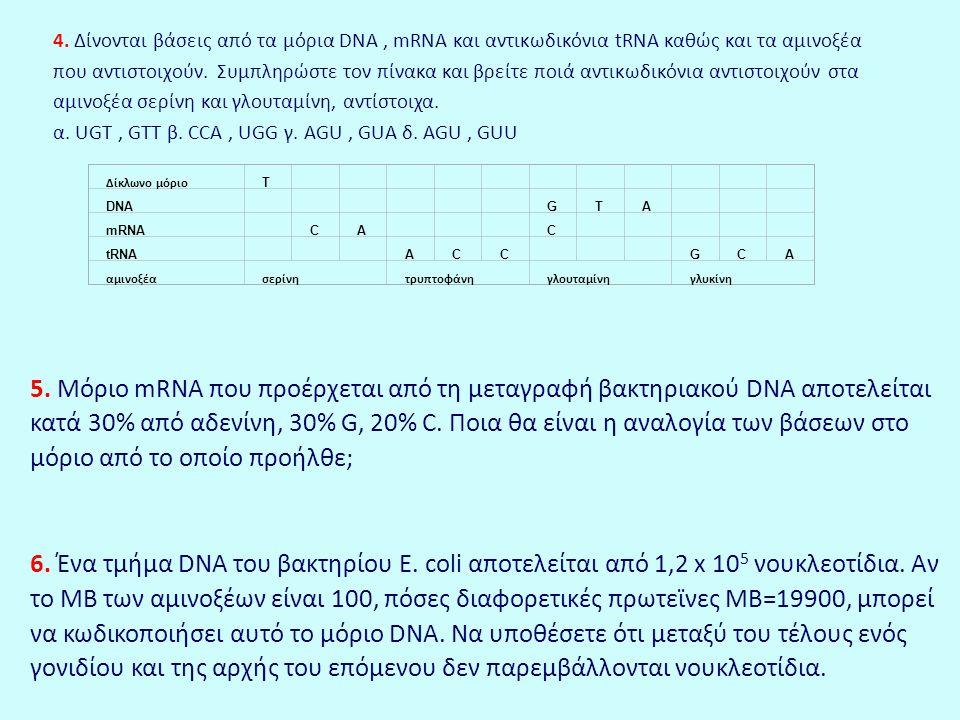 4. Δίνονται βάσεις από τα μόρια DNA, mRNA και αντικωδικόνια tRNA καθώς και τα αμινοξέα που αντιστοιχούν. Συμπληρώστε τον πίνακα και βρείτε ποιά αντικω