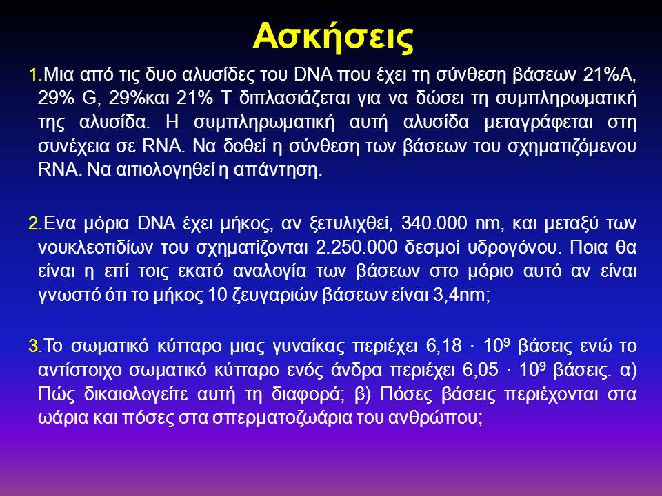 Ασκήσεις 1. Μια από τις δυο αλυσίδες του DNA που έχει τη σύνθεση βάσεων 21%Α, 29% G, 29%και 21% Τ διπλασιάζεται για να δώσει τη συμπληρωματική της αλυ