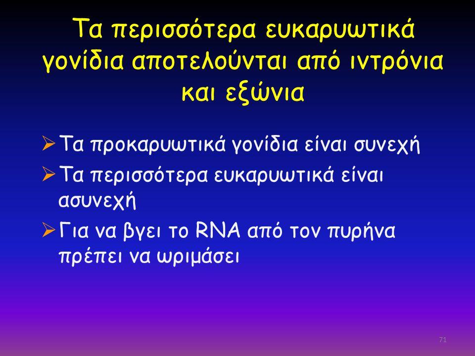 71 Τα περισσότερα ευκαρυωτικά γονίδια αποτελούνται από ιντρόνια και εξώνια  Τα προκαρυωτικά γονίδια είναι συνεχή  Τα περισσότερα ευκαρυωτικά είναι α