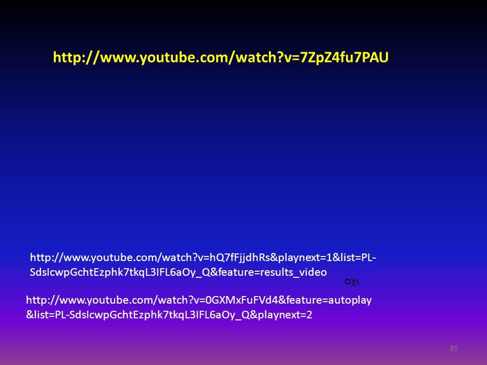 85 http://www.youtube.com/watch?v=0GXMxFuFVd4&feature=autoplay &list=PL-SdsIcwpGchtEzphk7tkqL3IFL6aOy_Q&playnext=2 http://www.youtube.com/watch?v=hQ7f