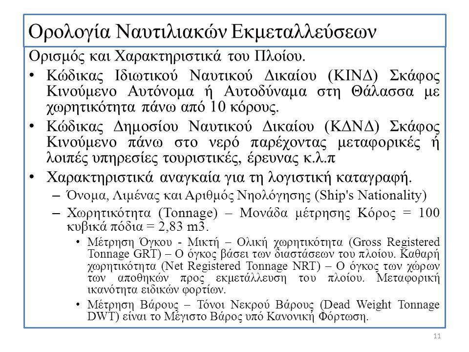 Ορολογία Ναυτιλιακών Εκμεταλλεύσεων Ορισμός και Χαρακτηριστικά του Πλοίου. Κώδικας Ιδιωτικού Ναυτικού Δικαίου (ΚΙΝΔ) Σκάφος Κινούμενο Αυτόνομα ή Αυτοδ
