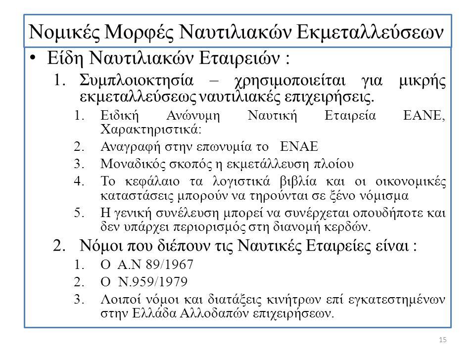 Νομικές Μορφές Ναυτιλιακών Εκμεταλλεύσεων Είδη Ναυτιλιακών Εταιρειών : 1.Συμπλοιοκτησία – χρησιμοποιείται για μικρής εκμεταλλεύσεως ναυτιλιακές επιχει