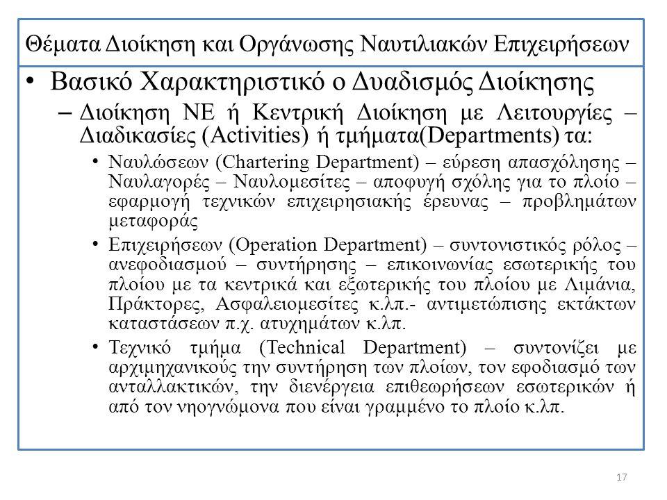Θέματα Διοίκηση και Οργάνωσης Ναυτιλιακών Επιχειρήσεων Βασικό Χαρακτηριστικό ο Δυαδισμός Διοίκησης – Διοίκηση ΝΕ ή Κεντρική Διοίκηση με Λειτουργίες –