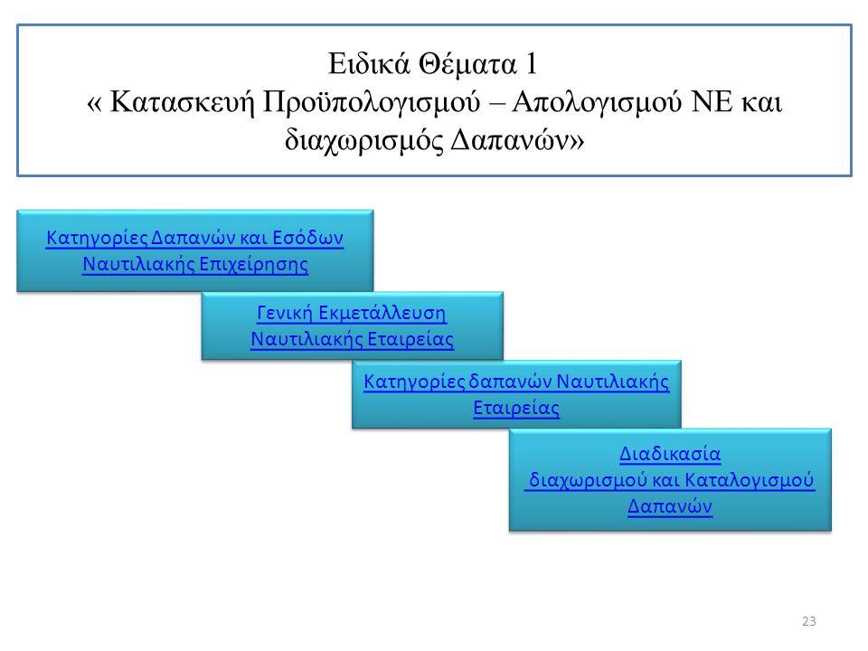 Ειδικά Θέματα 1 « Κατασκευή Προϋπολογισμού – Απολογισμού ΝΕ και διαχωρισμός Δαπανών» 23 Κατηγορίες Δαπανών και Εσόδων Ναυτιλιακής Επιχείρησης Κατηγορί