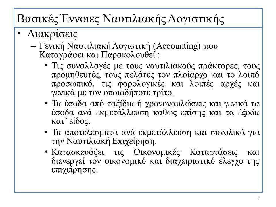 Βασικές Έννοιες Ναυτιλιακής Λογιστικής Διακρίσεις – Γενική Ναυτιλιακή Λογιστική (Accounting) που Καταγράφει και Παρακολουθεί : Τις συναλλαγές με τους