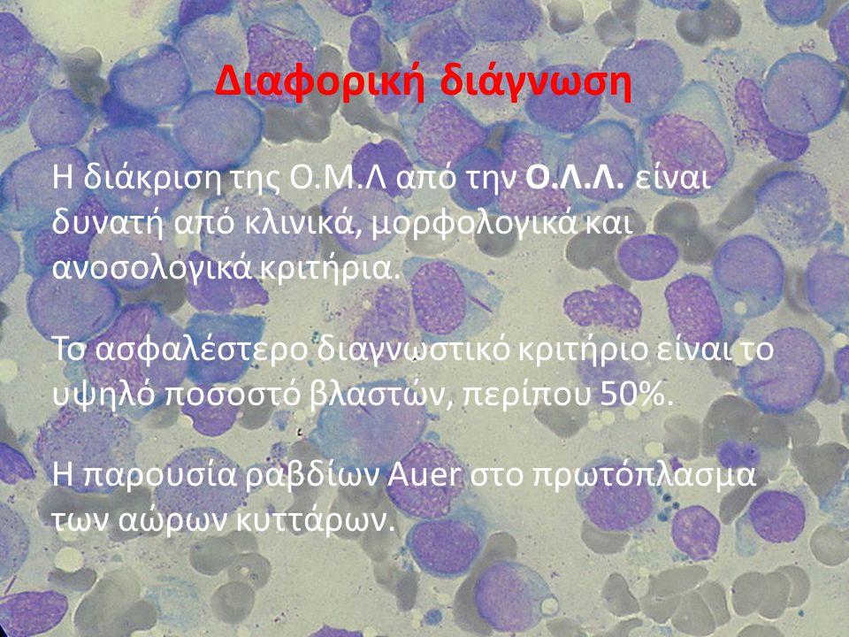 Διάγνωση Εξετάσεις:  Αιματολογικές εξετάσεις  Βιοχημικές εξετάσεις  Εξέταση κοπράνων και ούρων  Εξετάσεις μυελού των οστών(μυελόγραμμα)  Ηπατικός έλεγχος και εξετάσεις νεφρικής λειτουργίας  Ακτινογραφία θώρακα  Ακτινογραφία οστών  Μαγνητική τομογραφία  Υπερηχογράφημα