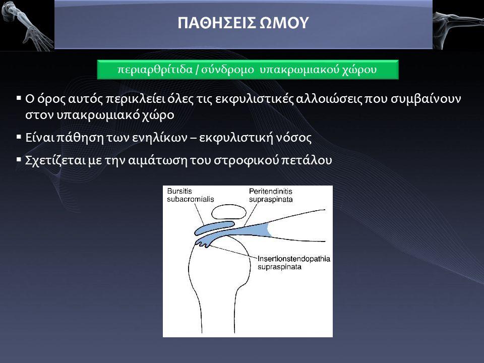 ΠΑΘΗΣΕΙΣ ΩΜΟΥ  Ωμαλγία επιδεινούμενη με συγκεκριμένες κινήσεις  Με/χωρίς αντανάκλαση στο όλο άκρο  Αισθητικότητα / αντανακλαστικά κφ (ΔΔ από ΑυχενοΒραχιόνιο Σύνδρομο)  Περιορισμός κινητικότητας (απαγωγή-πρόσθια κάμψη)   Λειτουργικός περιορισμός οδηγεί σε αρθρόδεση (αγκύλωση)  Ακτινολογικά σημεία επασβεστώσεων περιαρθρίτιδα / σύνδρομο υπακρωμιακού χώρου