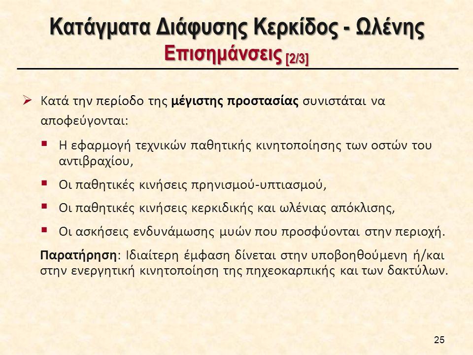 Κατάγματα Διάφυσης Κερκίδος - Ωλένης Επισημάνσεις [2/3] 25  Κατά την περίοδο της μέγιστης προστασίας συνιστάται να αποφεύγονται:  Η εφαρμογή τεχνικώ