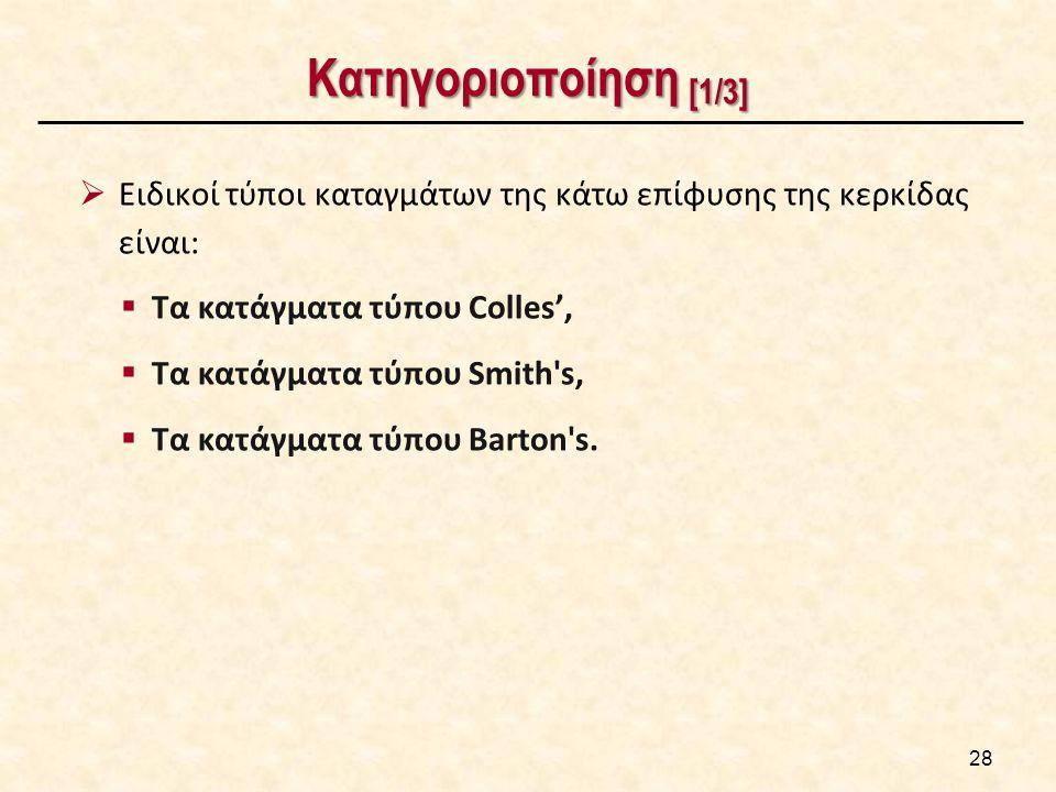 Κατηγοριοποίηση [1/3]  Ειδικοί τύποι καταγμάτων της κάτω επίφυσης της κερκίδας είναι:  Τα κατάγματα τύπου Colles',  Τα κατάγματα τύπου Smith's,  Τ