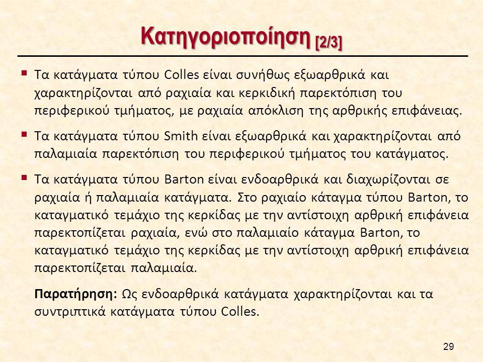Κατηγοριοποίηση [2/3]  Τα κατάγματα τύπου Colles είναι συνήθως εξωαρθρικά και χαρακτηρίζονται από ραχιαία και κερκιδική παρεκτόπιση του περιφερικού τ