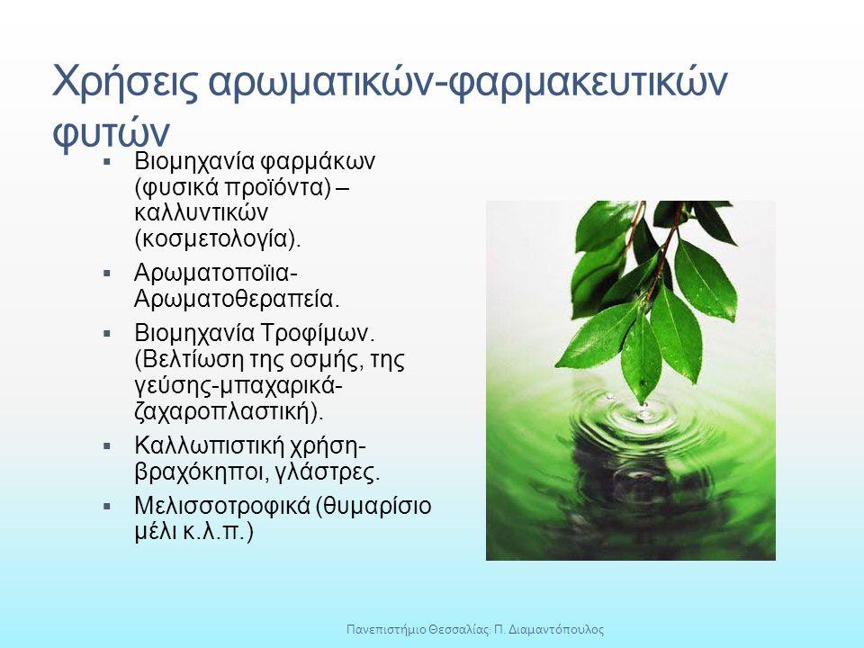Χρήσεις αρωματικών-φαρμακευτικών φυτών  Βιομηχανία φαρμάκων (φυσικά προϊόντα) – καλλυντικών (κοσμετολογία).  Αρωματοποϊια- Αρωματοθεραπεία.  Βιομηχ