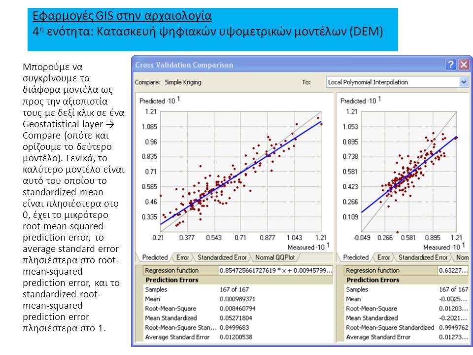 Εφαρμογές GIS στην αρχαιολογία 4 η ενότητα: Κατασκευή ψηφιακών υψομετρικών μοντέλων (DEM) Μπορούμε να συγκρίνουμε τα διάφορα μοντέλα ως προς την αξιοπιστία τους με δεξί κλικ σε ένα Geostatistical layer → Compare (οπότε και ορίζουμε το δεύτερο μοντέλο).