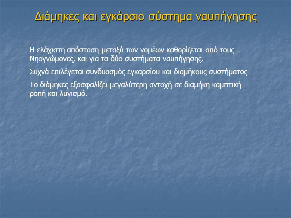 Διάμηκες και εγκάρσιο σύστημα ναυπήγησης Η ελάχιστη απόσταση μεταξύ των νομέων καθορίζεται από τους Νηογνώμονες, και για τα δύο συστήματα ναυπήγησης.