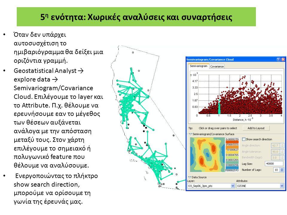 5 η ενότητα: Χωρικές αναλύσεις και συναρτήσεις Όταν δεν υπάρχει αυτοσυσχέτιση το ημιβαριόγραμμα θα δείξει μια οριζόντια γραμμή. Geostatistical Analyst