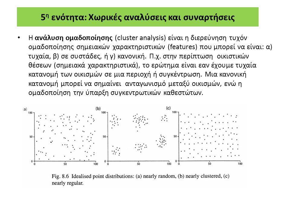 5 η ενότητα: Χωρικές αναλύσεις και συναρτήσεις Η ανάλυση ομαδοποίησης (cluster analysis) είναι η διερεύνηση τυχόν ομαδοποίησης σημειακών χαρακτηριστικ