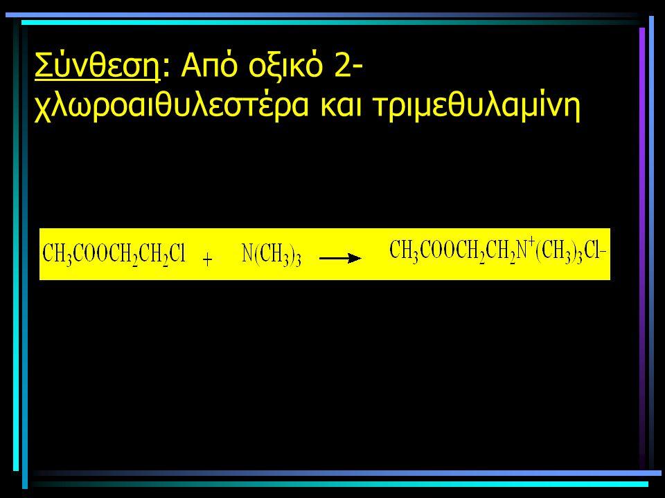 Σύνθεση: Από οξικό 2- χλωροαιθυλεστέρα και τριμεθυλαμίνη