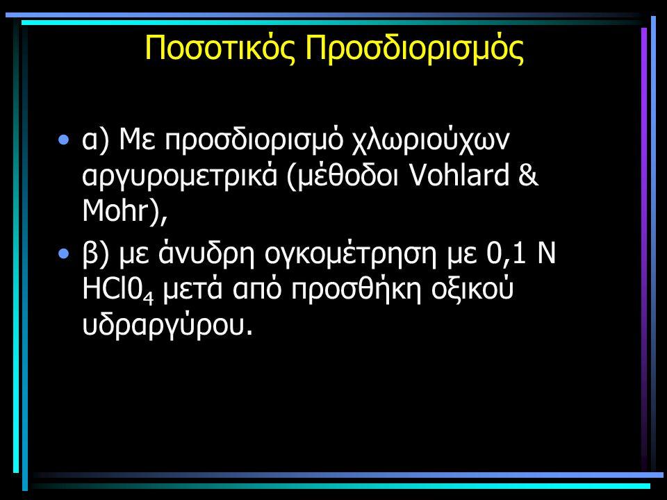 Ποσοτικός Προσδιορισμός α) Με προσδιορισμό χλωριούχων αργυρομετρικά (μέθοδοι Vohlard & Mohr), β) με άνυδρη ογκομέτρηση με 0,1 Ν ΗCl0 4 μετά από προσθή