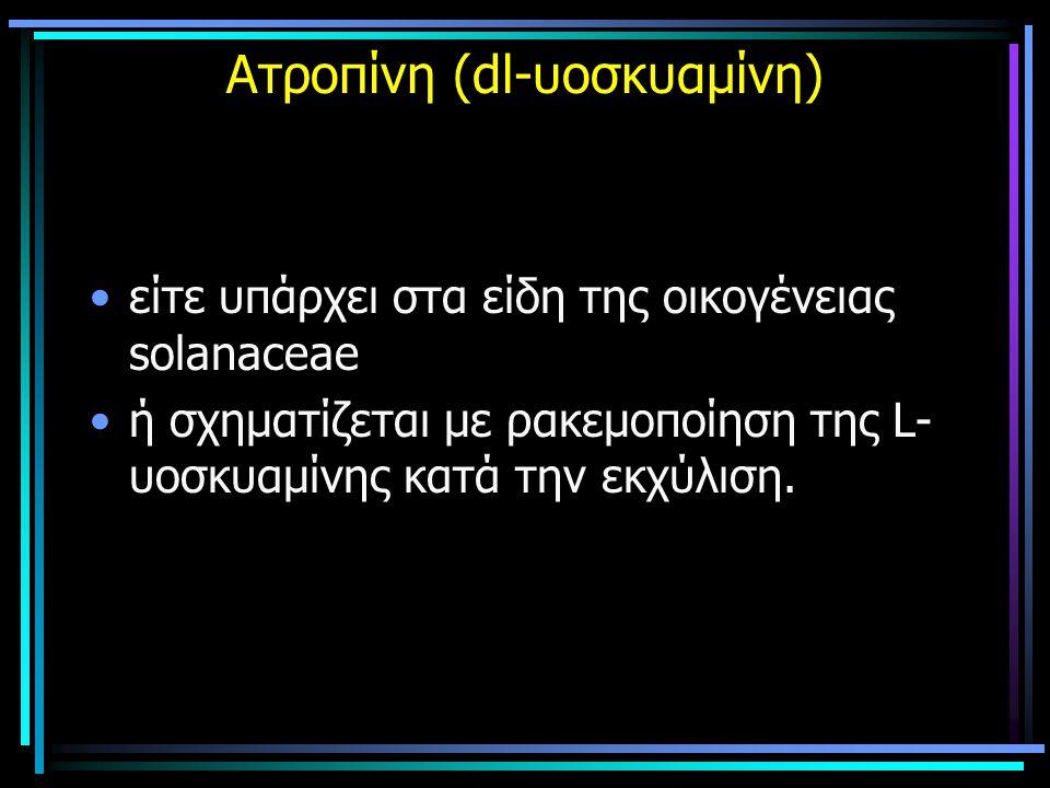 Ατροπίνη (dl-υοσκυαμίνη) είτε υπάρχει στα είδη της οικογένειας solanaceae ή σχηματίζεται με ρακεμοποίηση της L- υοσκυαμίνης κατά την εκχύλιση.