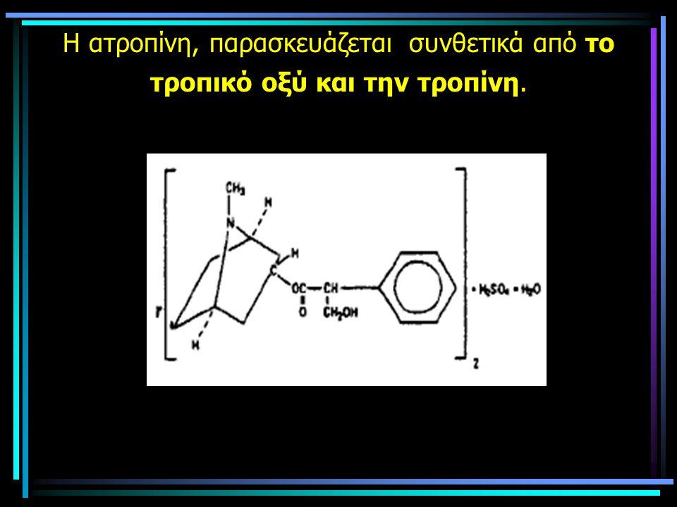 Η ατροπίνη, παρασκευάζεται συνθετικά από το τροπικό οξύ και την τροπίνη.