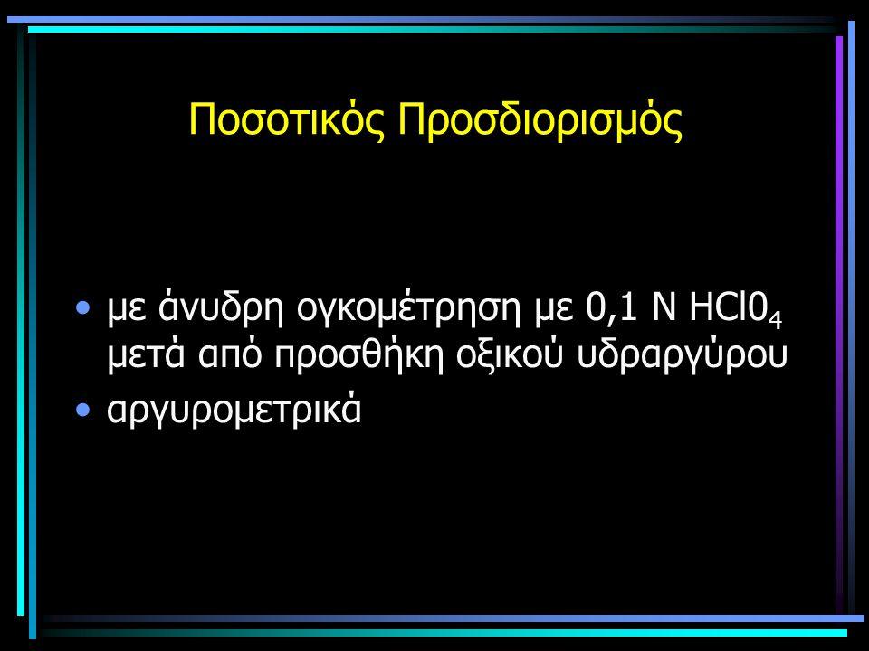 Ποσοτικός Προσδιορισμός με άνυδρη ογκομέτρηση με 0,1 Ν ΗCl0 4 μετά από προσθήκη οξικού υδραργύρου αργυρομετρικά