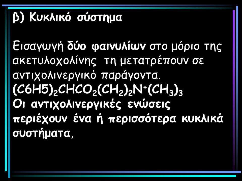 β) Κυκλικό σύστημα Εισαγωγή δύο φαινυλίων στο μόριο της ακετυλοχολίνης τη μετατρέπουν σε αντιχολινεργικό παράγοντα. (C6Η5) 2 CΗCΟ 2 (CΗ 2 ) 2 Ν + (CH