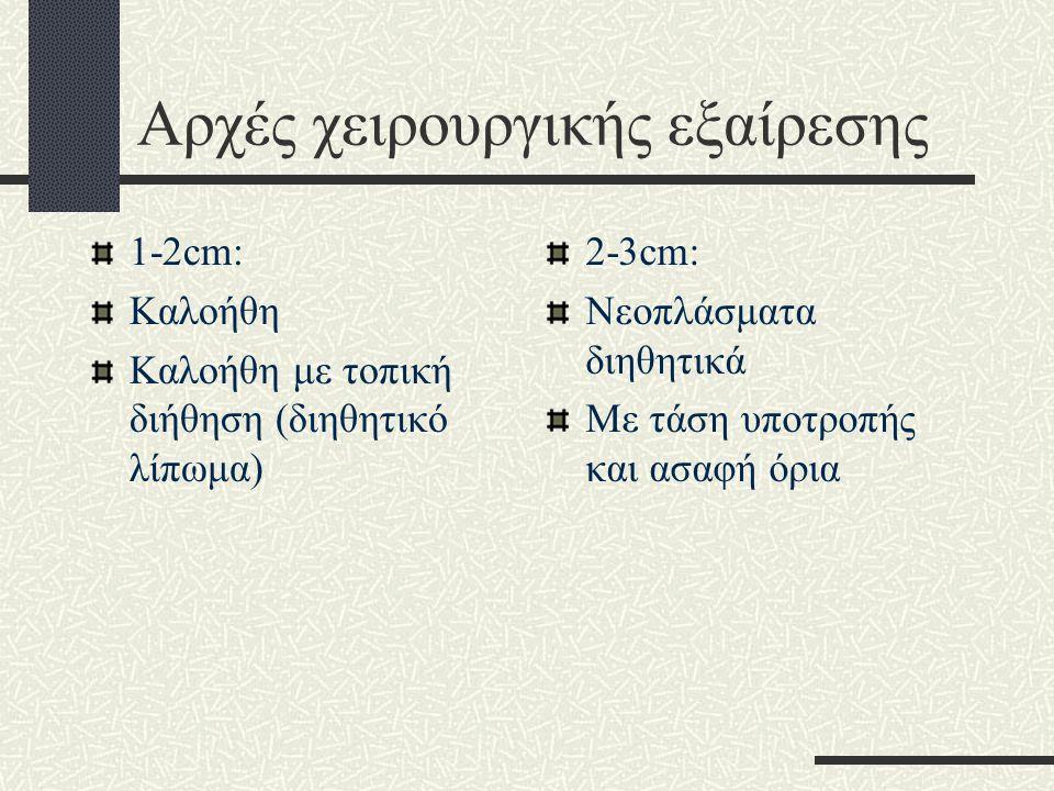 Αρχές χειρουργικής εξαίρεσης 1-2cm: Καλοήθη Καλοήθη με τοπική διήθηση (διηθητικό λίπωμα) 2-3cm: Νεοπλάσματα διηθητικά Με τάση υποτροπής και ασαφή όρια