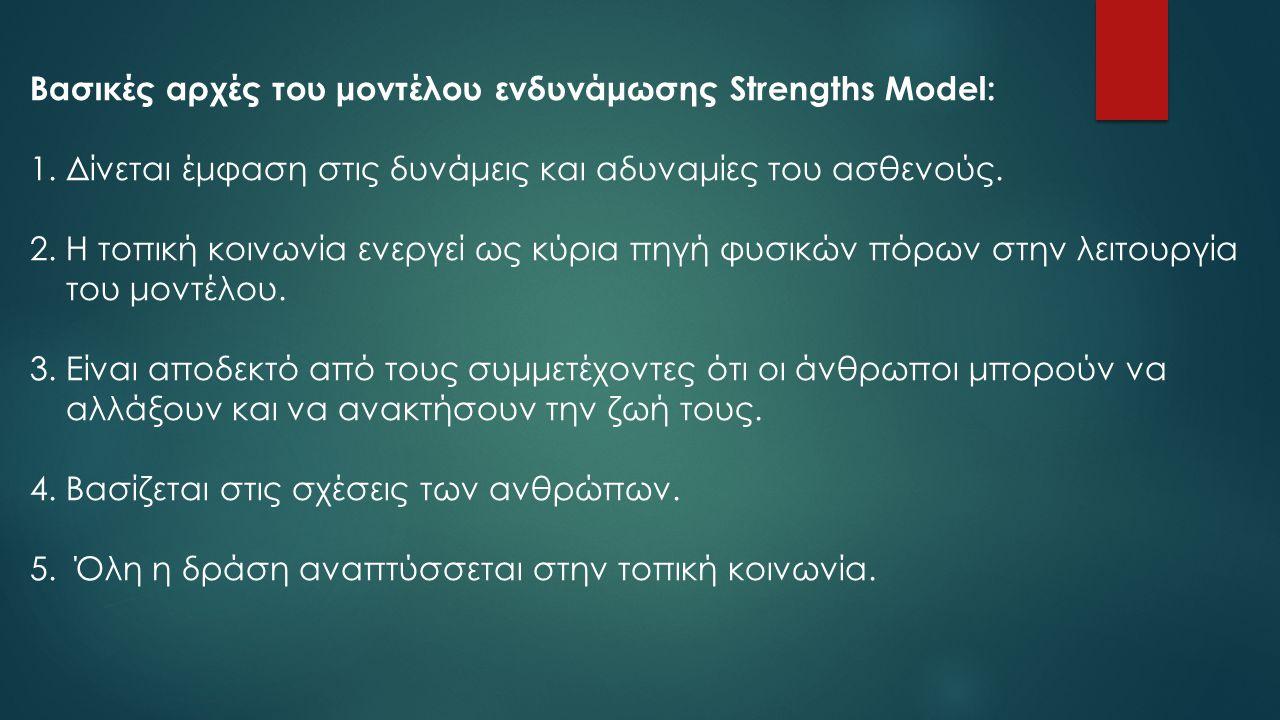 Βασικές αρχές του μοντέλου ενδυνάμωσης Strengths Model: 1.Δίνεται έμφαση στις δυνάμεις και αδυναμίες του ασθενούς. 2.Η τοπική κοινωνία ενεργεί ως κύρι