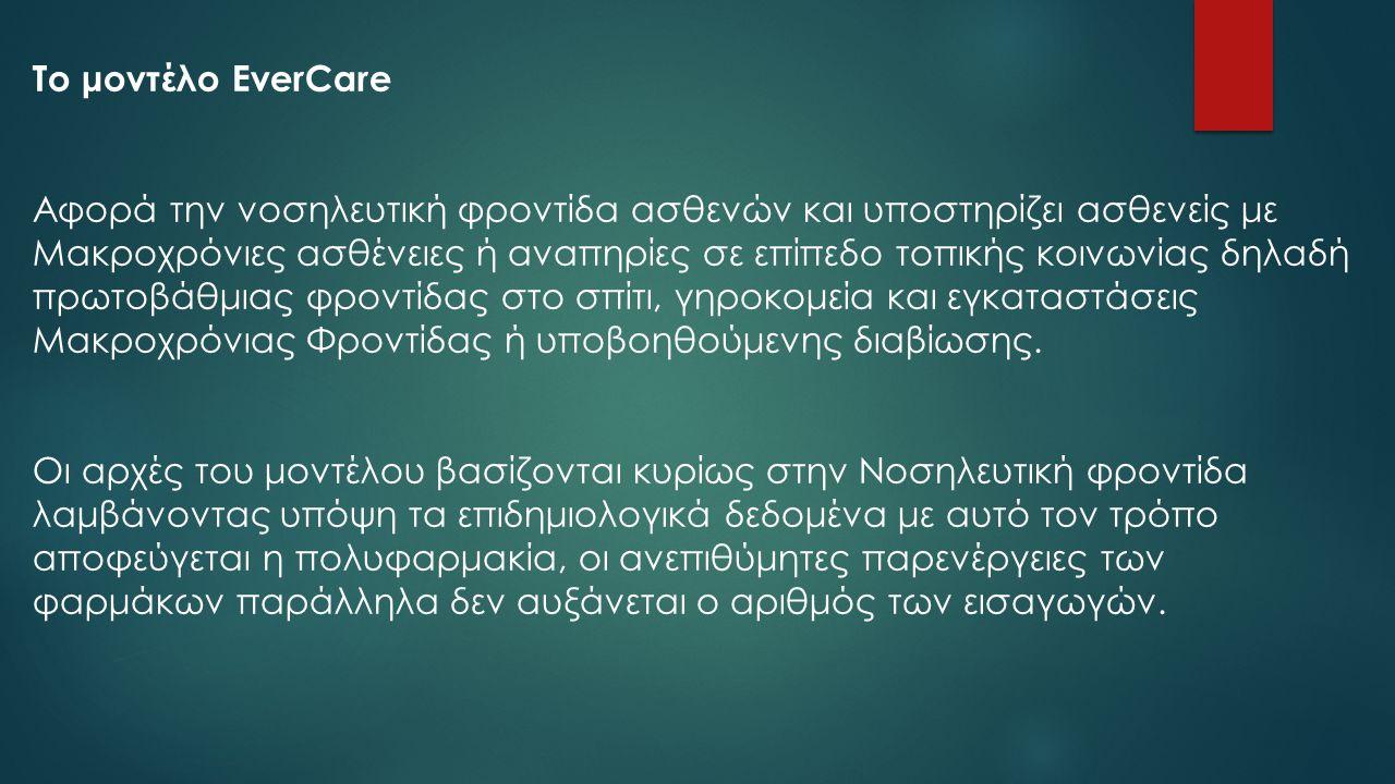 Το μοντέλο EverCare Αφορά την νοσηλευτική φροντίδα ασθενών και υποστηρίζει ασθενείς με Μακροχρόνιες ασθένειες ή αναπηρίες σε επίπεδο τοπικής κοινωνίας