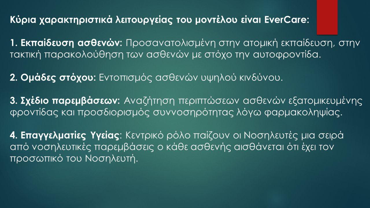 Κύρια χαρακτηριστικά λειτουργείας του μοντέλου είναι EverCare: 1. Εκπαίδευση ασθενών: Προσανατολισμένη στην ατομική εκπαίδευση, στην τακτική παρακολού