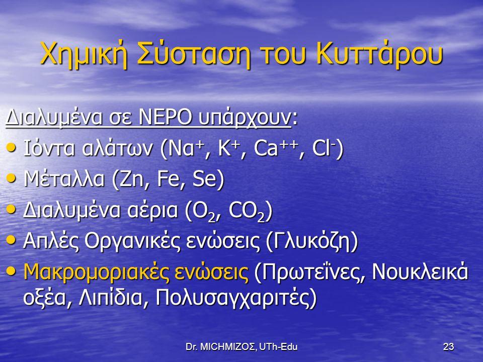 Dr. ΜΙCHΜΙΖΟΣ, UTh-Edu23 Χημική Σύσταση του Κυττάρου Διαλυμένα σε ΝΕΡΟ υπάρχουν: Ιόντα αλάτων (Να +, Κ +, Ca ++, Cl - ) Ιόντα αλάτων (Να +, Κ +, Ca ++