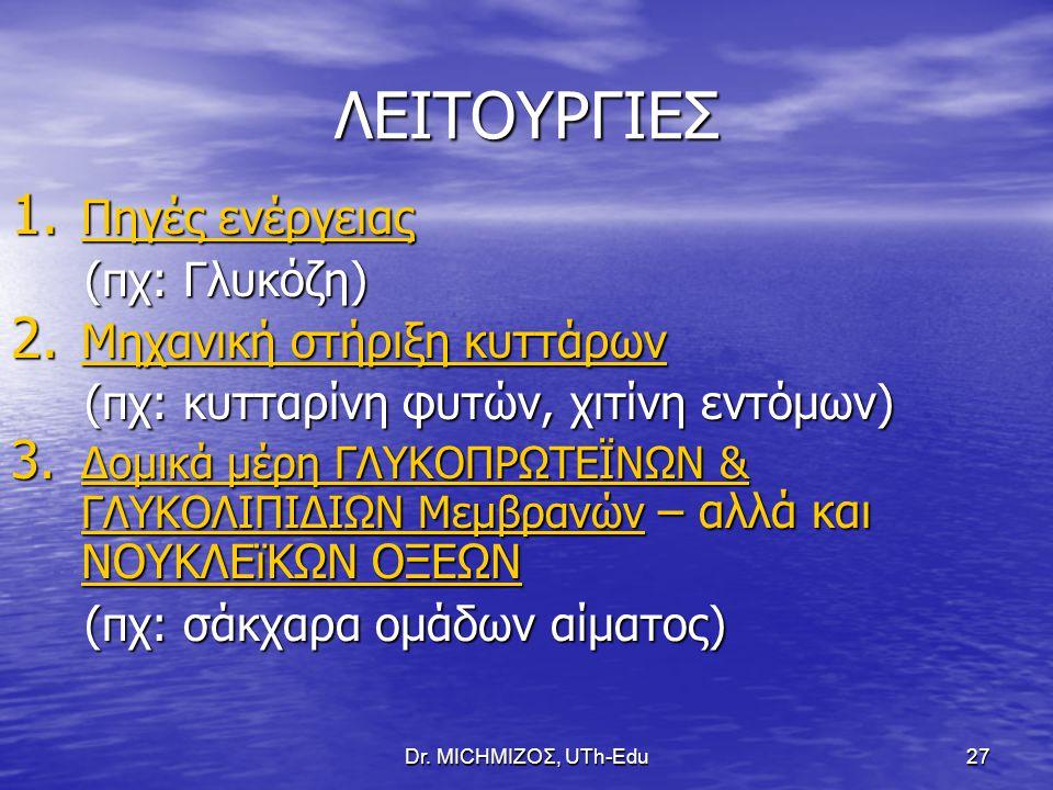 Dr. ΜΙCHΜΙΖΟΣ, UTh-Edu27 ΛΕΙΤΟΥΡΓΙΕΣ 1. Πηγές ενέργειας (πχ: Γλυκόζη) (πχ: Γλυκόζη) 2. Μηχανική στήριξη κυττάρων (πχ: κυτταρίνη φυτών, χιτίνη εντόμων)