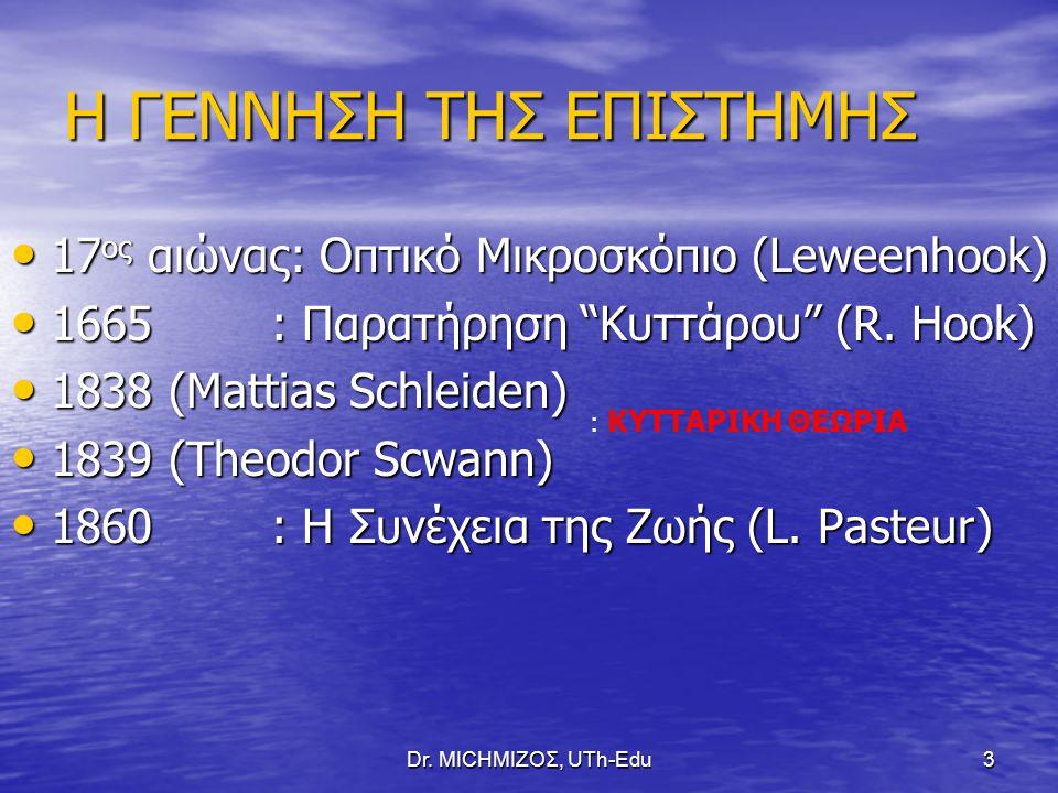 Dr. ΜΙCHΜΙΖΟΣ, UTh-Edu3 Η ΓΕΝΝΗΣΗ ΤΗΣ ΕΠΙΣΤΗΜΗΣ 17 ος αιώνας: Οπτικό Μικροσκόπιο (Leweenhook) 17 ος αιώνας: Οπτικό Μικροσκόπιο (Leweenhook) 1665 : Παρ