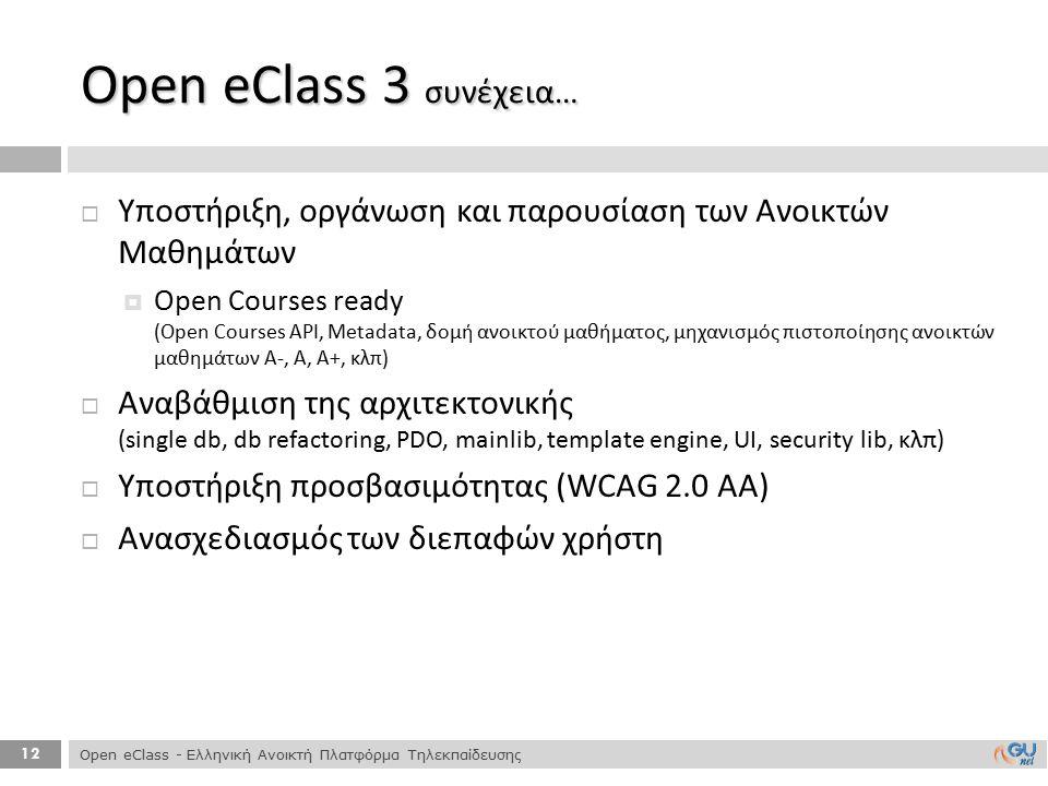 12  Υποστήριξη, οργάνωση και παρουσίαση των Ανοικτών Μαθημάτων  Open Courses ready (Open Courses API, Metadata, δομή ανοικτού μαθήματος, μηχανισμός