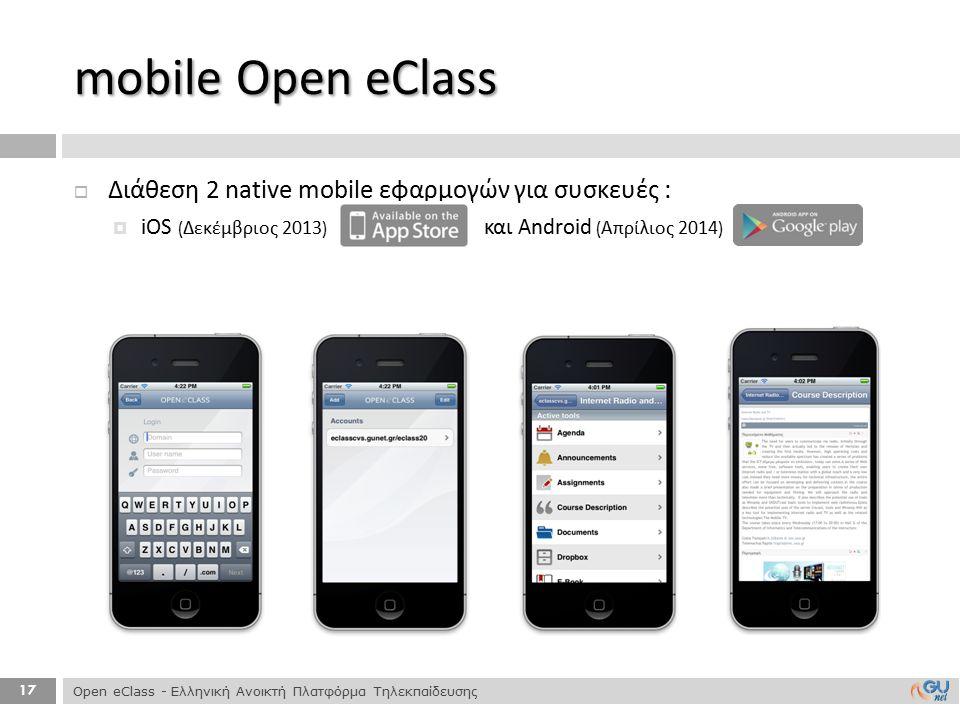17  Διάθεση 2 native mobile εφαρμογών για συσκευές :  iOS ( Δεκέμβριος 2013) και Android ( Απρίλιος 2014) mobile Open eClass Open eClass - Ελληνική