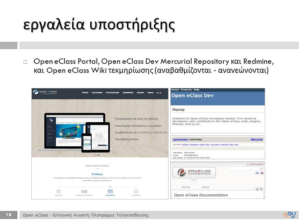 18 εργαλεία υποστήριξης  Open eClass Portal, Open eClass Dev Mercurial Repository και Redmine, και Open eClass Wiki τεκμηρίωσης ( αναβαθμίζονται - αν
