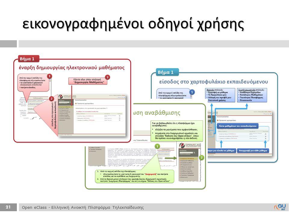 21 εικονογραφημένοι οδηγοί χρήσης Open eClass - Ελληνική Ανοικτή Πλατφόρμα Τηλεκπαίδευσης