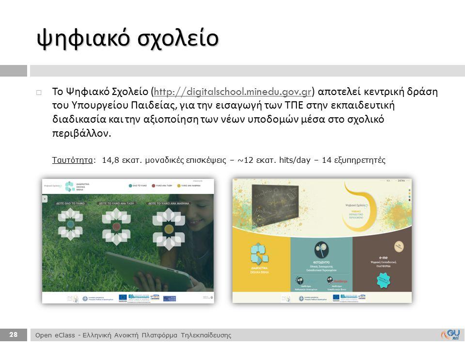 28  Το Ψηφιακό Σχολείο (http://digitalschool.minedu.gov.gr) αποτελεί κεντρική δράση του Υπουργείου Παιδείας, για την εισαγωγή των ΤΠΕ στην εκπαιδευτι