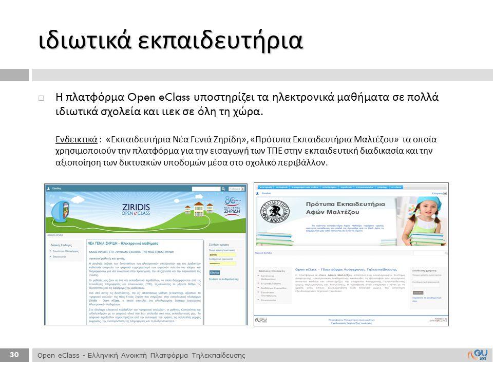 30  Η πλατφόρμα Open eClass υποστηρίζει τα ηλεκτρονικά μαθήματα σε πολλά ιδιωτικά σχολεία και ιιεκ σε όλη τη χώρα. Ενδεικτικά : « Εκπαιδευτήρια Νέα Γ