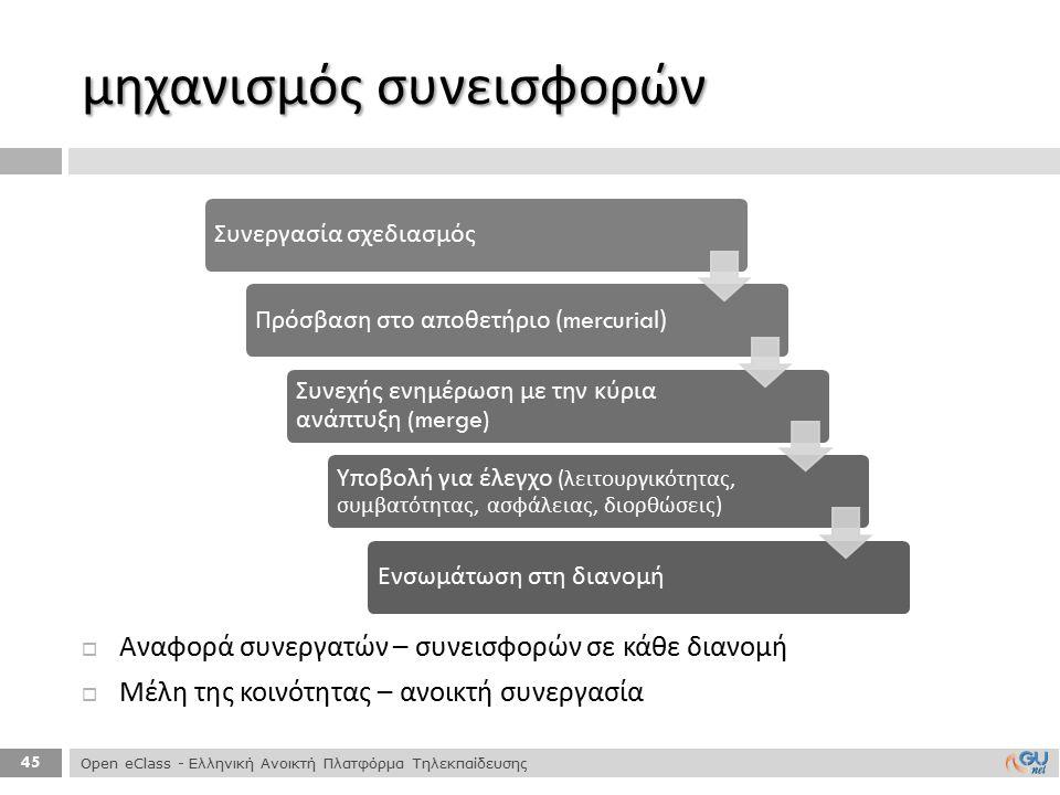 45 μηχανισμός συνεισφορών Open eClass - Ελληνική Ανοικτή Πλατφόρμα Τηλεκπαίδευσης Συνεργασία σχεδιασμόςΠρόσβαση στο α π οθετήριο (mercurial) Συνεχής ε