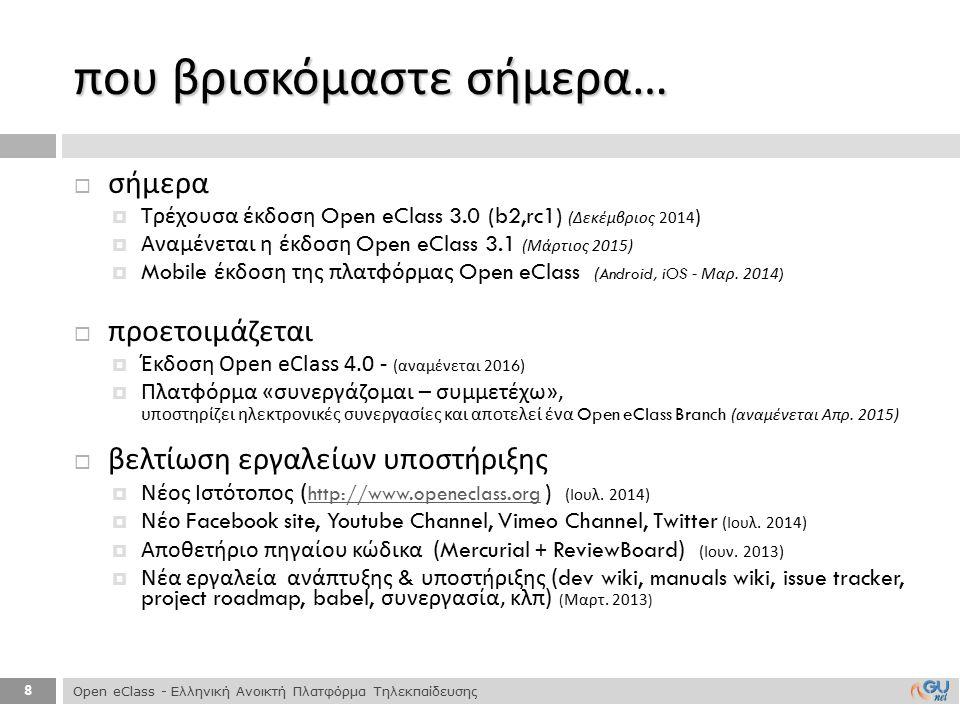 8  σήμερα  Τρέχουσα έκδοση Open eClass 3.0 (b2,rc1) ( Δεκέμβριος 2014 )  Αναμένεται η έκδοση Open eClass 3.1 ( Μάρτιος 2015)  Mobile έκδοση της πλ