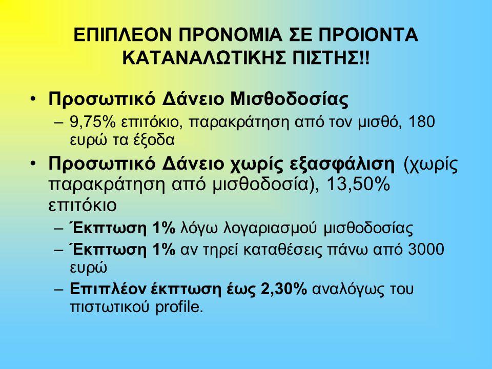 ΕΠΙΠΛΕΟΝ ΠΡΟΝΟΜΙΑ ΣΕ ΠΡΟΙΟΝΤΑ ΚΑΤΑΝΑΛΩΤΙΚΗΣ ΠΙΣΤΗΣ!! Προσωπικό Δάνειο Μισθοδοσίας –9,75% επιτόκιο, παρακράτηση από τον μισθό, 180 ευρώ τα έξοδα Προσωπ
