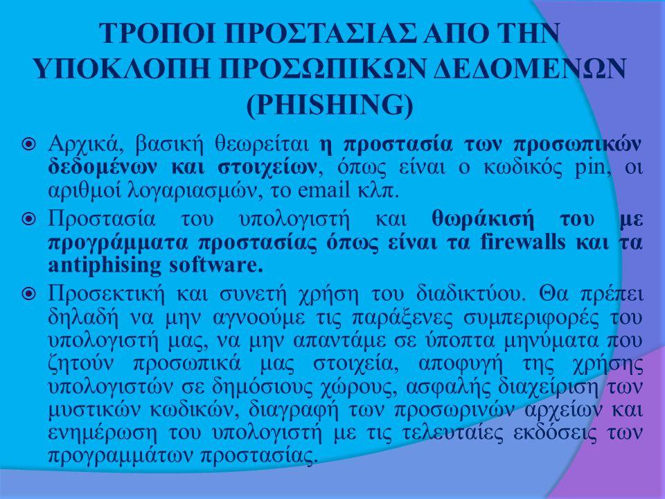 ΤΡΟΠΟΙ ΠΡΟΣΤΑΣΙΑΣ ΑΠO ΤΗΝ ΥΠΟΚΛΟΠΗ ΠΡΟΣΩΠΙΚΩΝ ΔΕΔΟΜΕΝΩΝ (PHISHING)  Αρχικά, βασική θεωρείται η προστασία των προσωπικών δεδομένων και στοιχείων, όπως είναι ο κωδικός pin, οι αριθμοί λογαριασμών, το email κλπ.