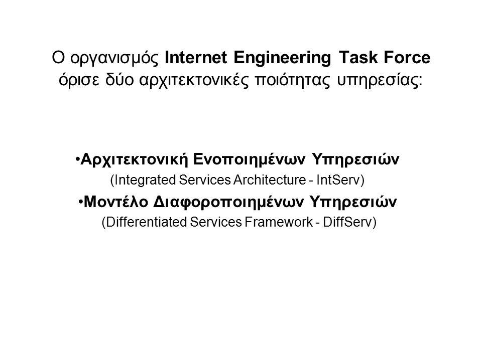 Ο οργανισμός Internet Engineering Task Force όρισε δύο αρχιτεκτονικές ποιότητας υπηρεσίας: Αρχιτεκτονική Ενοποιημένων Υπηρεσιών (Integrated Services A