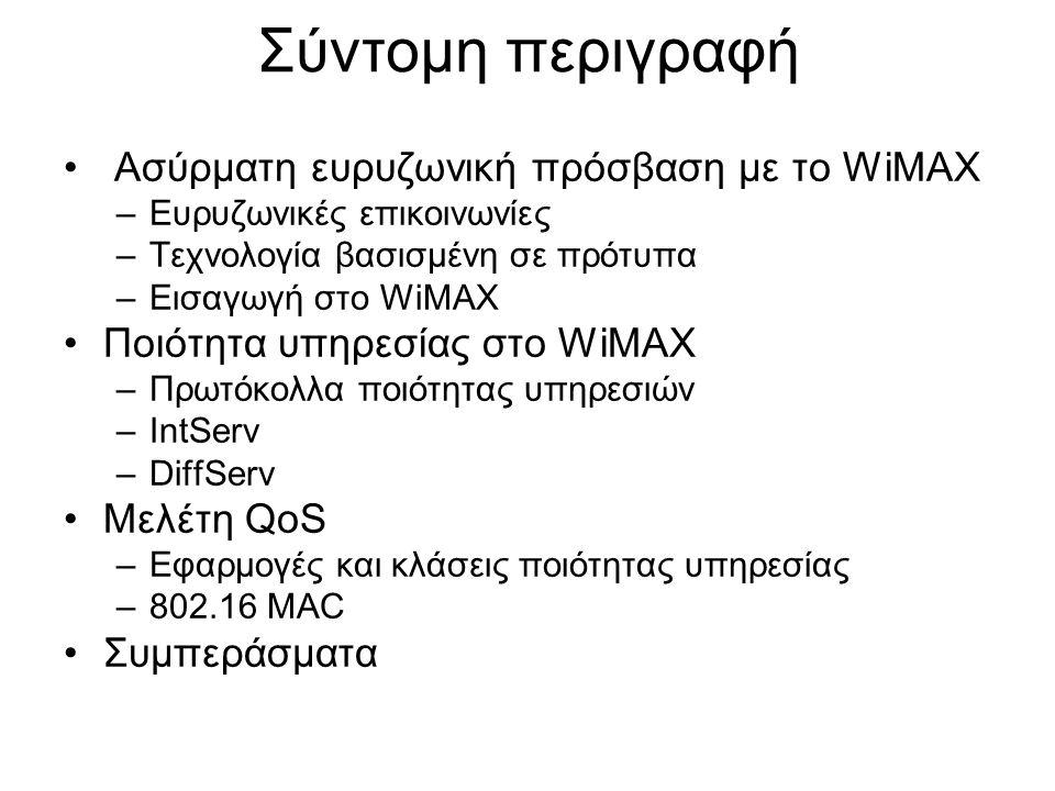 Σύντομη περιγραφή Ασύρματη ευρυζωνική πρόσβαση με το WiMAX –Ευρυζωνικές επικοινωνίες –Τεχνολογία βασισμένη σε πρότυπα –Εισαγωγή στο WiMAX Ποιότητα υπη