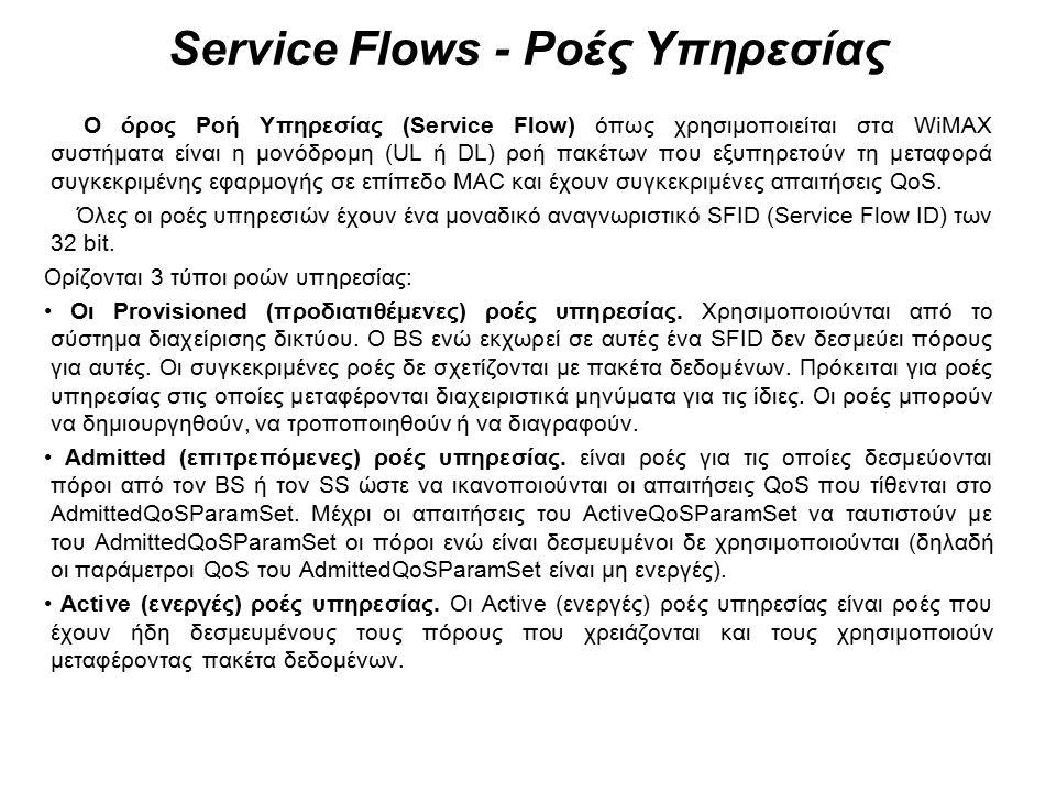 Service Flows - Ροές Υπηρεσίας Ο όρος Ροή Υπηρεσίας (Service Flow) όπως χρησιμοποιείται στα WiMAX συστήματα είναι η μονόδρομη (UL ή DL) ροή πακέτων πο
