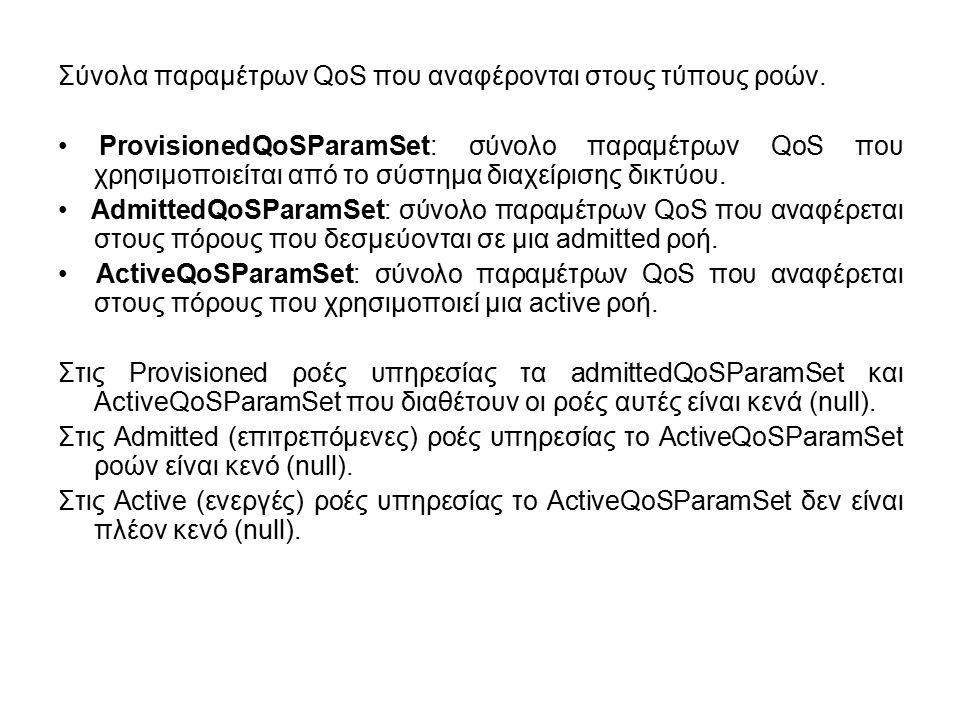 Σύνολα παραμέτρων QoS που αναφέρονται στους τύπους ροών. ProvisionedQoSParamSet: σύνολο παραμέτρων QoS που χρησιμοποιείται από το σύστημα διαχείρισης