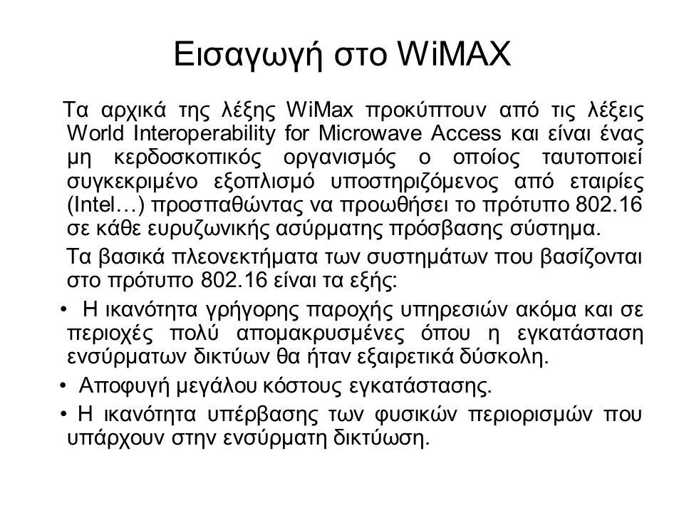 Εισαγωγή στο WiMAX Τα αρχικά της λέξης WiMax προκύπτουν από τις λέξεις World Interoperability for Microwave Access και είναι ένας μη κερδοσκοπικός οργ