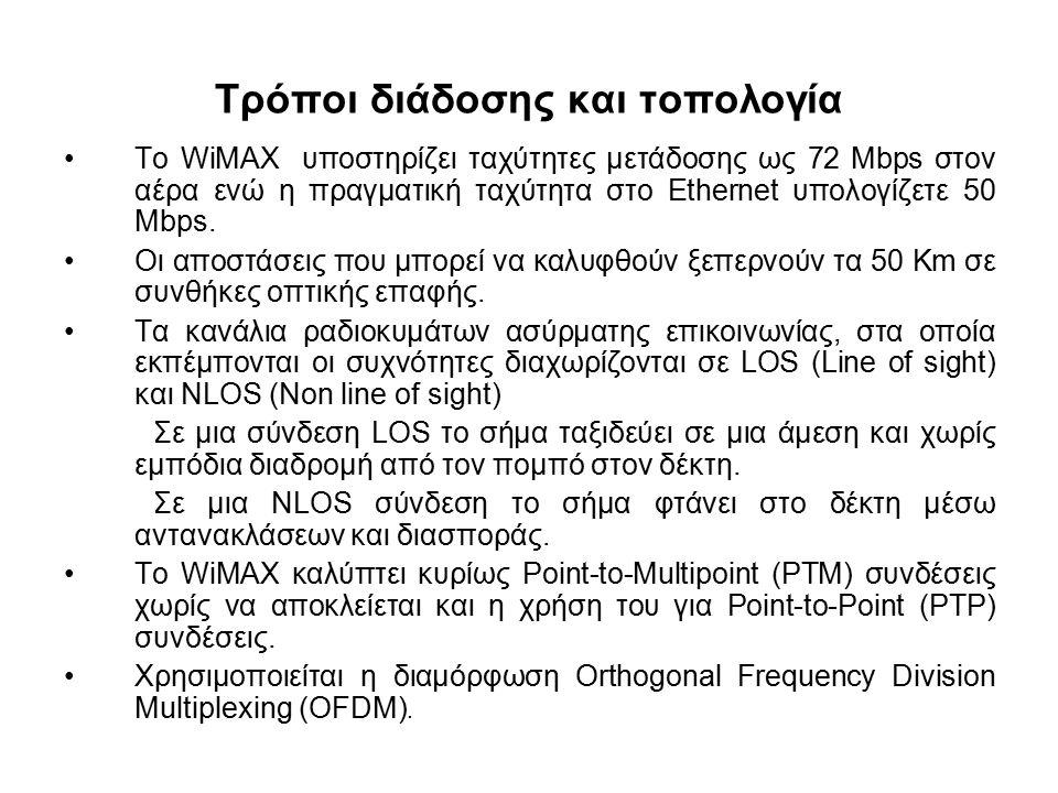 Τρόποι διάδοσης και τοπολογία Το WiMAX υποστηρίζει ταχύτητες μετάδοσης ως 72 Mbps στον αέρα ενώ η πραγματική ταχύτητα στο Ethernet υπολογίζετε 50 Mbps